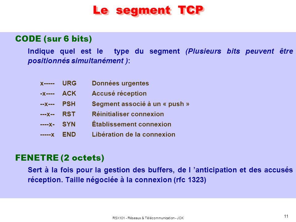 RSX101 - Réseaux & Télécommunication - JCK 12 segment TCP FCS (2 octets) Somme de contrôle établie de la façon suivante : Somme en complément à 1 par 2 octets (16 bits) Résultat enregistré en complément à 1 A la réception, idem y compris champ contrôle.