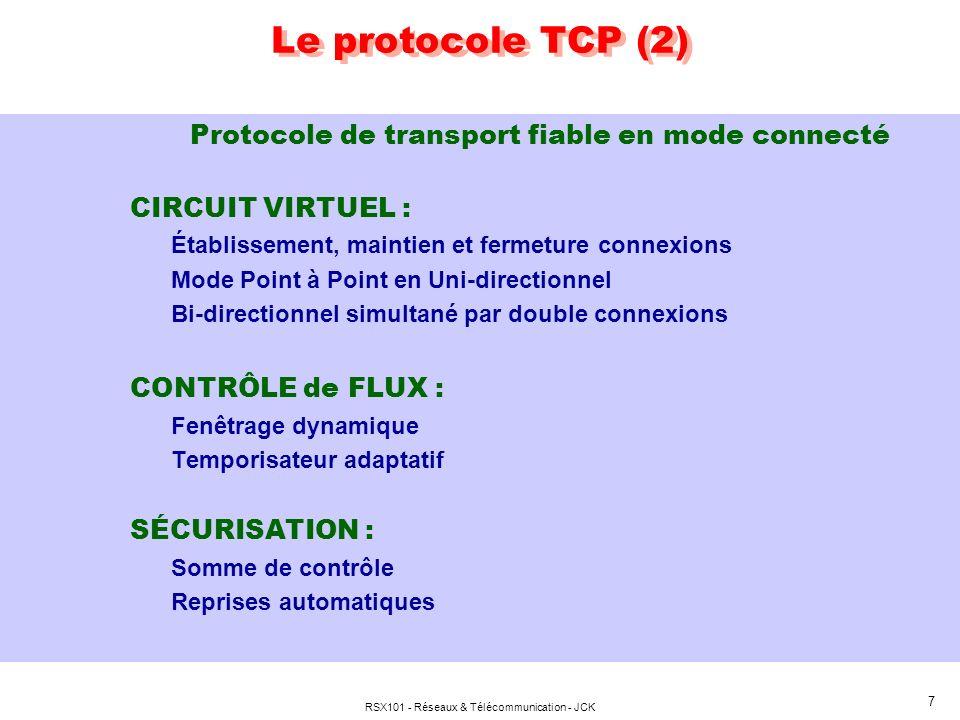 RSX101 - Réseaux & Télécommunication - JCK 8 Le protocole TCP (3) GESTION des FLUX : Flot doctets non structuré ( Découpage selon containers IP ) Rétention octets pour optimisation transferts Forçage émission segment non plein si besoin (Push) Possibilité démission en mode Urgent Notion de ports, via SOCKETS (Mise en relation des processus en communication à chaque extrémité, en mode connecté) Multiplexage de flux applicatifs simultanés