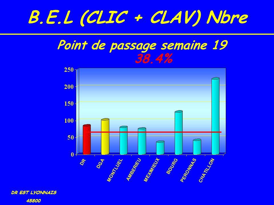 B.E.L (CLIC + CLAV) Nbre DR EST LYONNAIS 45800 38.4% Point de passage semaine 19
