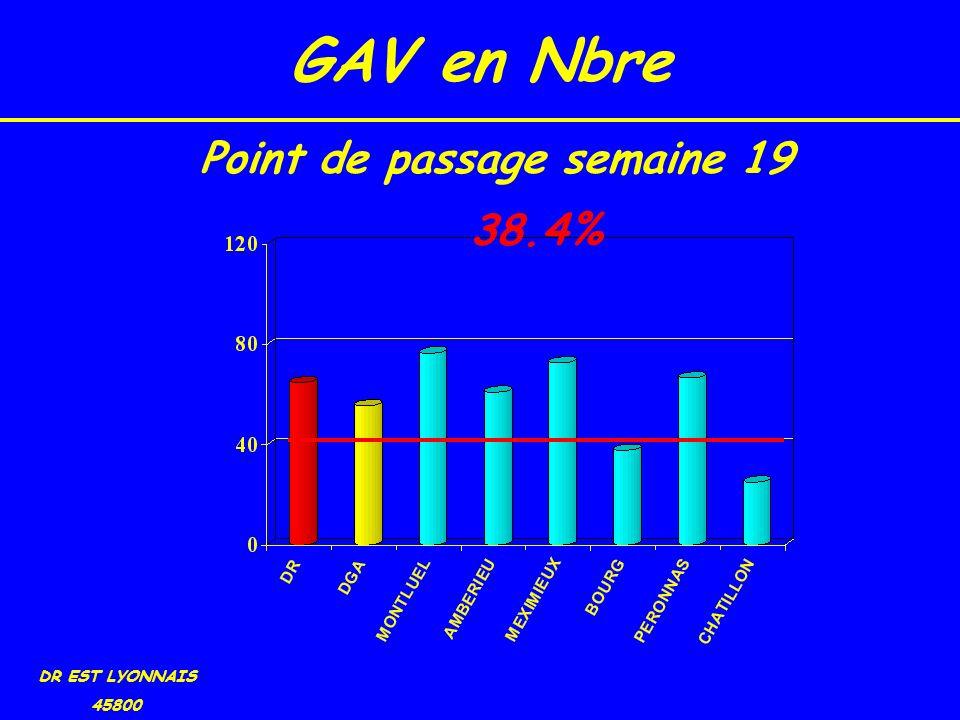 GAV en Nbre DR EST LYONNAIS 45800 38.4% Point de passage semaine 19