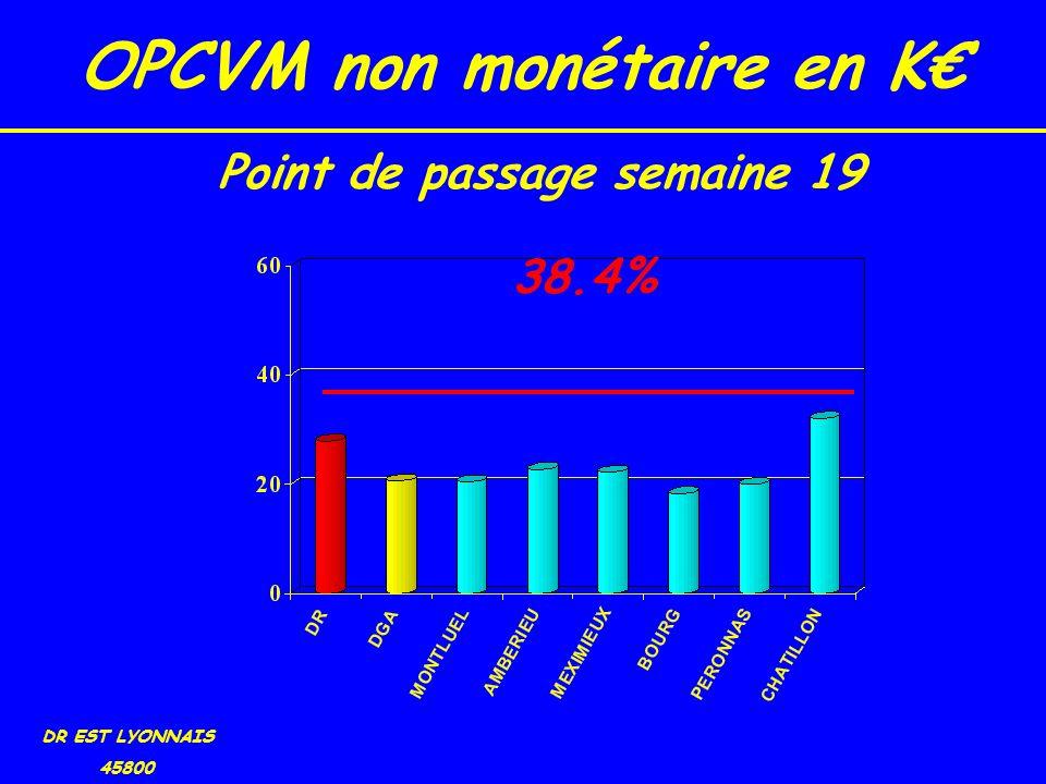 OPCVM non monétaire en K DR EST LYONNAIS 45800 38.4% Point de passage semaine 19