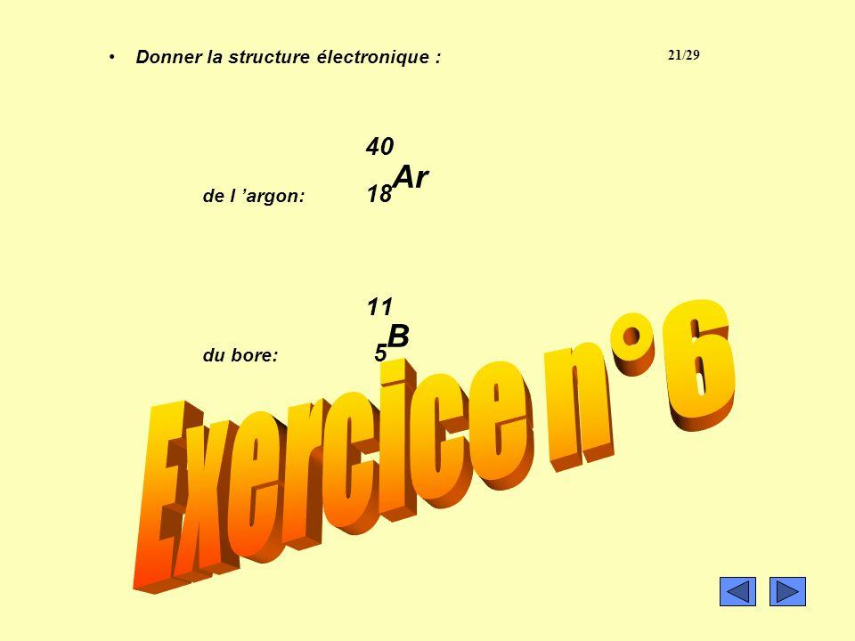 Structure électronique d un atome de magnésium (à recopier) 24 Mg : (K) 2 (L) 8 (M) 2 La couche interne est toujours la couche K La couche externe est