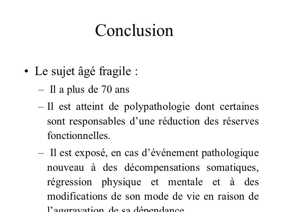 Conclusion Concept largement reconnu Pas de définition consensuelle Objet de recherche Intérêt d une telle définition afin d optimiser la prise en cha