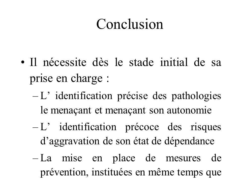 Conclusion Le sujet âgé fragile : – Il a plus de 70 ans –Il est atteint de polypathologie dont certaines sont responsables dune réduction des réserves
