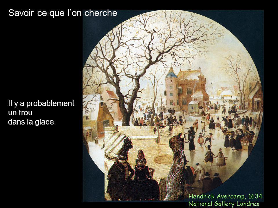 Savoir ce que lon cherche Hendrick Avercamp, 1634 National Gallery Londres Il y a probablement un trou dans la glace