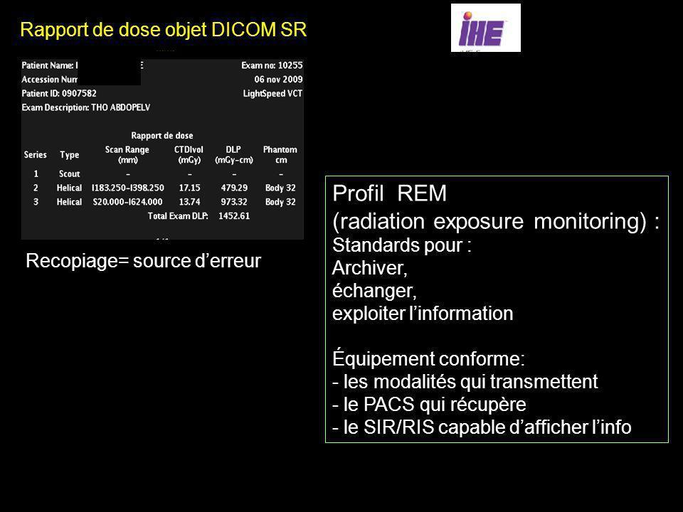 Rapport de dose objet DICOM SR Profil REM Recopiage= source derreur Profil REM (radiation exposure monitoring) : Standards pour : Archiver, échanger,