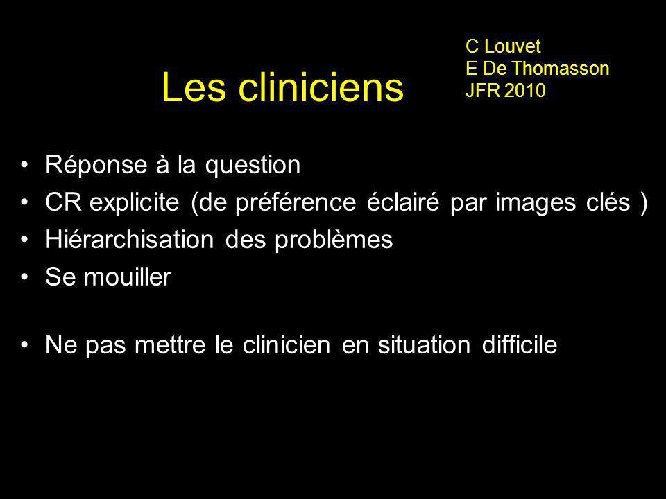Les cliniciens Réponse à la question CR explicite (de préférence éclairé par images clés ) Hiérarchisation des problèmes Se mouiller Ne pas mettre le