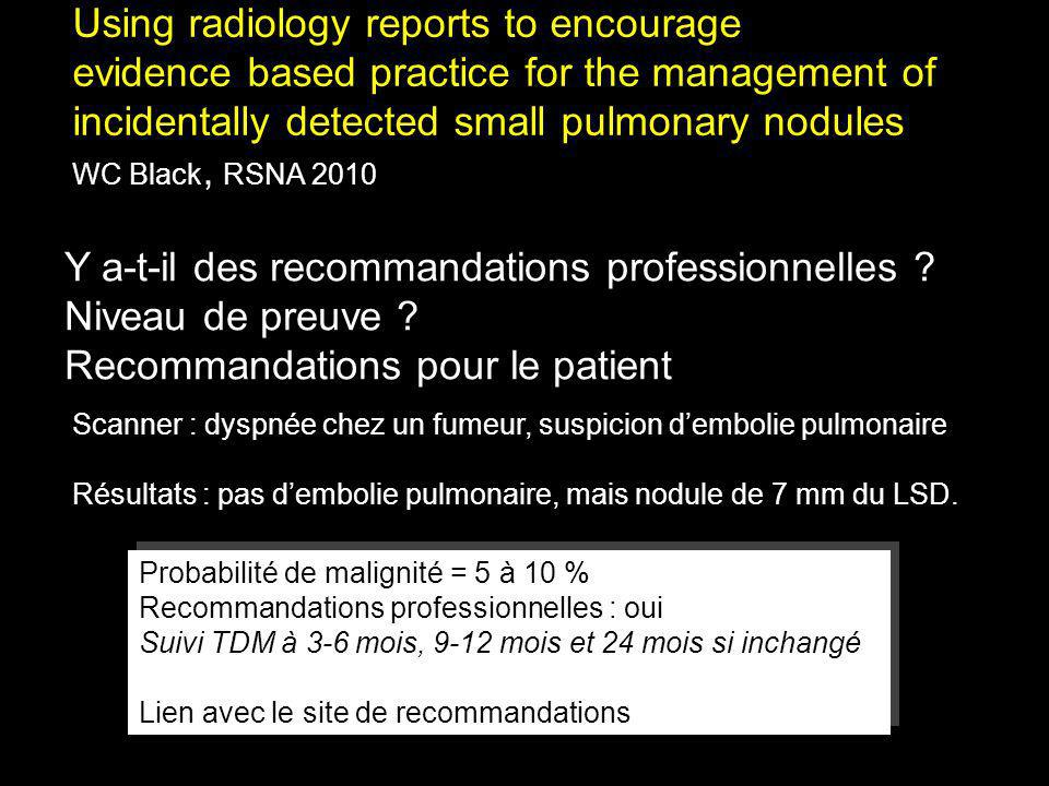 Using radiology reports to encourage evidence based practice for the management of incidentally detected small pulmonary nodules WC Black, RSNA 2010 N