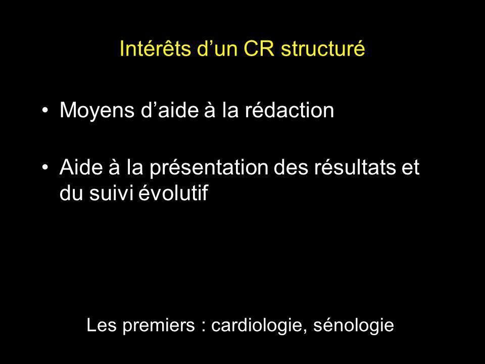 Intérêts dun CR structuré Moyens daide à la rédaction Aide à la présentation des résultats et du suivi évolutif Les premiers : cardiologie, sénologie
