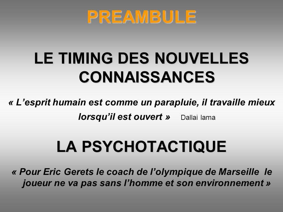 PREAMBULE LE TIMING DES NOUVELLES CONNAISSANCES « Lesprit humain est comme un parapluie, il travaille mieux lorsquil est ouvert » Dallai lama LA PSYCH