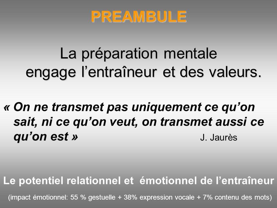 PREAMBULE La préparation mentale engage lentraîneur et des valeurs. « On ne transmet pas uniquement ce quon sait, ni ce quon veut, on transmet aussi c