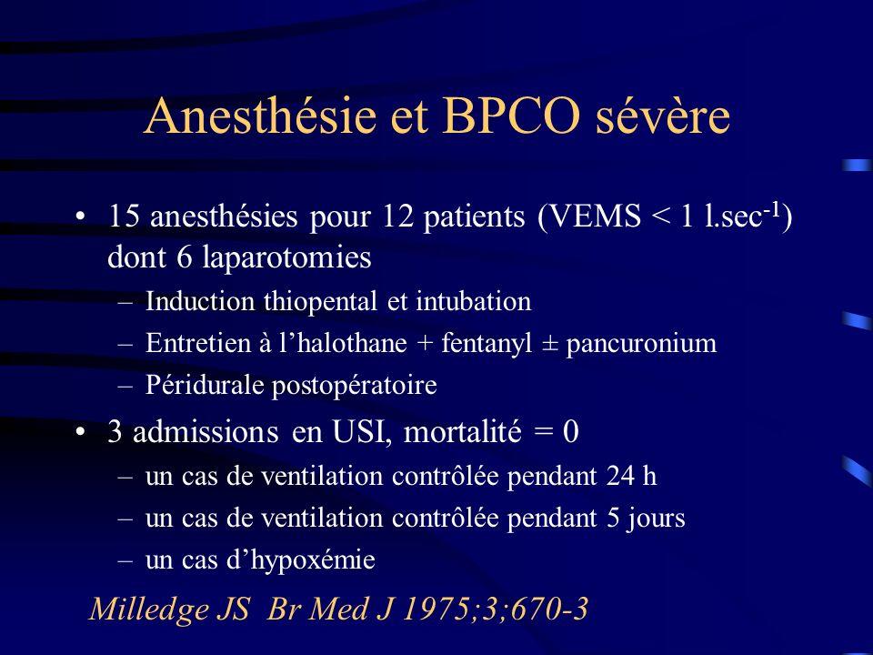 Facteurs de risque de complications pulmonaires après anesthésie chez le BPCO sévère n = 105 Wong DH Anesth Analg 1995;80:276-84 * score de sévérité de la BPCO