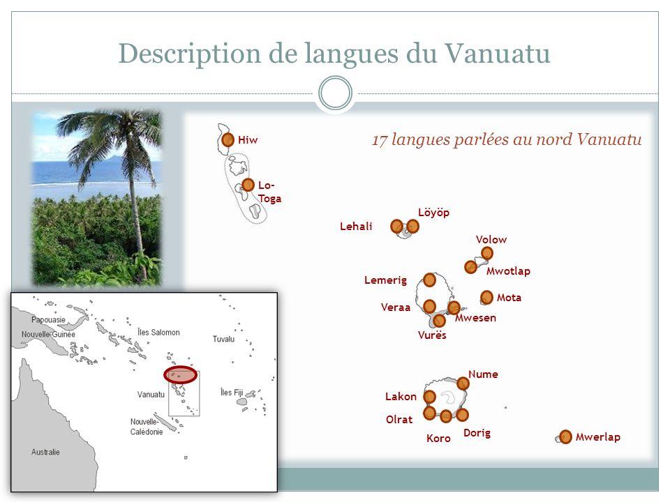 Description de langues du Vanuatu Hiw Lo- Toga Lehali Volow Lemerig Veraa Vurës Mota Mwerlap Olrat Koro Nume Löyöp Mwotlap Mwesen Lakon Dorig 17 langu