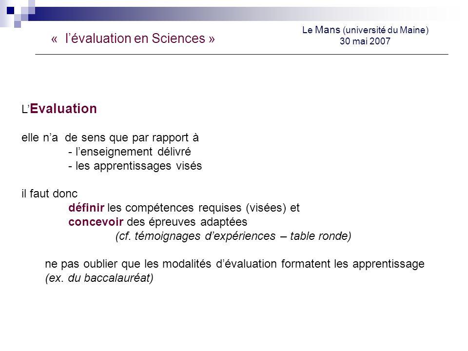 « lévaluation en Sciences » Le Mans (université du Maine) 30 mai 2007 L Evaluation elle na de sens que par rapport à - lenseignement délivré - les apprentissages visés il faut donc définir les compétences requises (visées) et concevoir des épreuves adaptées (cf.