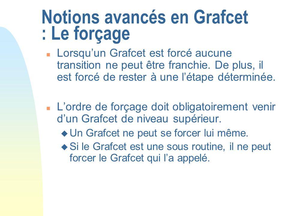 Notions avancés en Grafcet : Le forçage n Lorsquun Grafcet est forcé aucune transition ne peut être franchie. De plus, il est forcé de rester à une lé