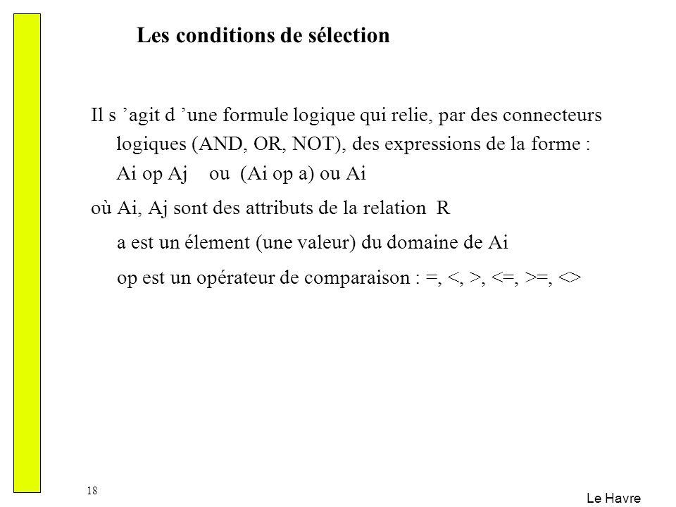 Le Havre 18 Il s agit d une formule logique qui relie, par des connecteurs logiques (AND, OR, NOT), des expressions de la forme : Ai op Aj ou (Ai op a