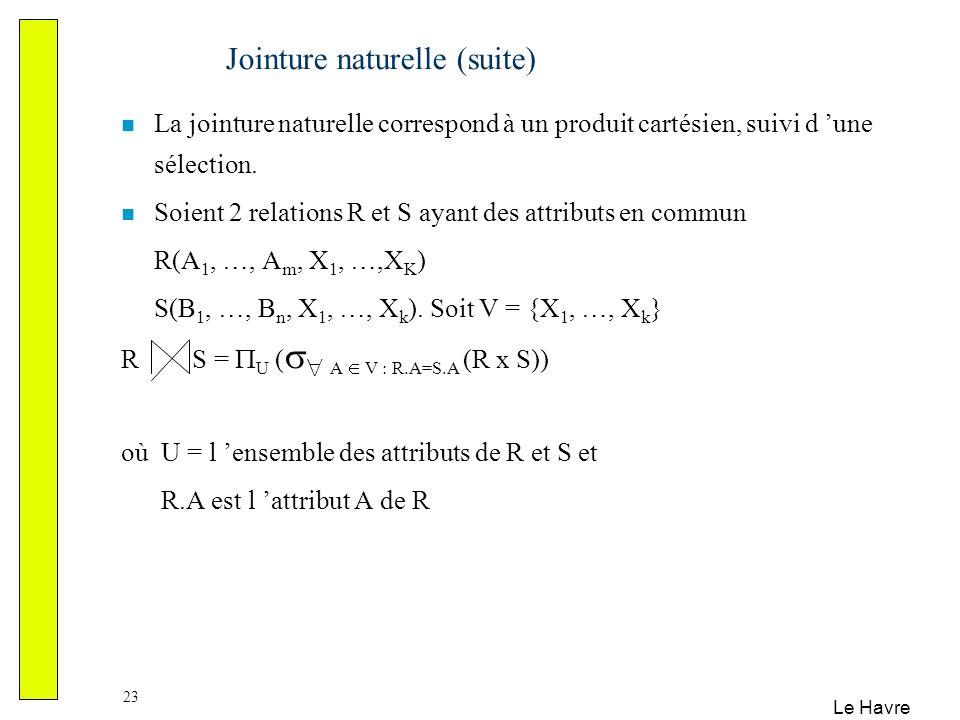 Le Havre 23 Jointure naturelle (suite) La jointure naturelle correspond à un produit cartésien, suivi d une sélection. Soient 2 relations R et S ayant