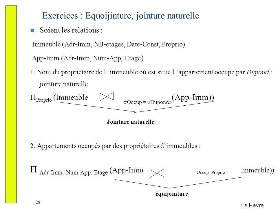 Le Havre 28 Exercices : Equoijinture, jointure naturelle Soient les relations : Immeuble (Adr-Imm, NB-etages, Date-Const, Proprio) App-Imm (Adr-Imm, N