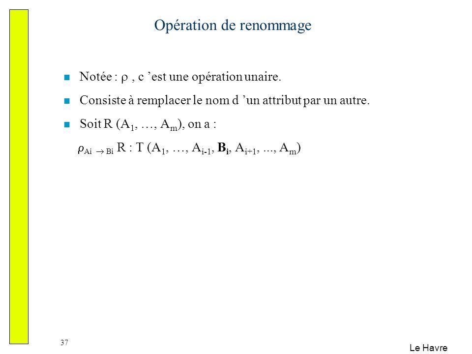 Le Havre 37 Opération de renommage Notée :, c est une opération unaire. Consiste à remplacer le nom d un attribut par un autre. Soit R (A 1, …, A m ),