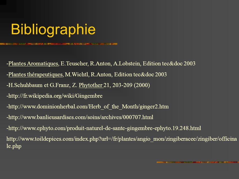 Bibliographie -Plantes Aromatiques, E.Teuscher, R.Anton, A.Lobstein, Edition tec&doc 2003 -Plantes thérapeutiques, M.Wichtl, R.Anton, Edition tec&doc