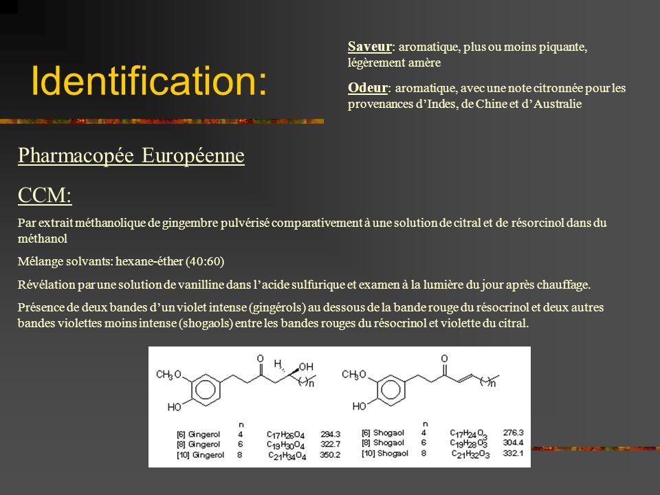 Identification: Pharmacopée Européenne CCM: Par extrait méthanolique de gingembre pulvérisé comparativement à une solution de citral et de résorcinol