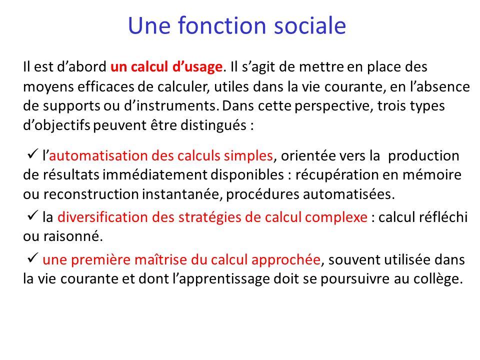 Une fonction sociale Il est dabord un calcul dusage. Il sagit de mettre en place des moyens efficaces de calculer, utiles dans la vie courante, en lab