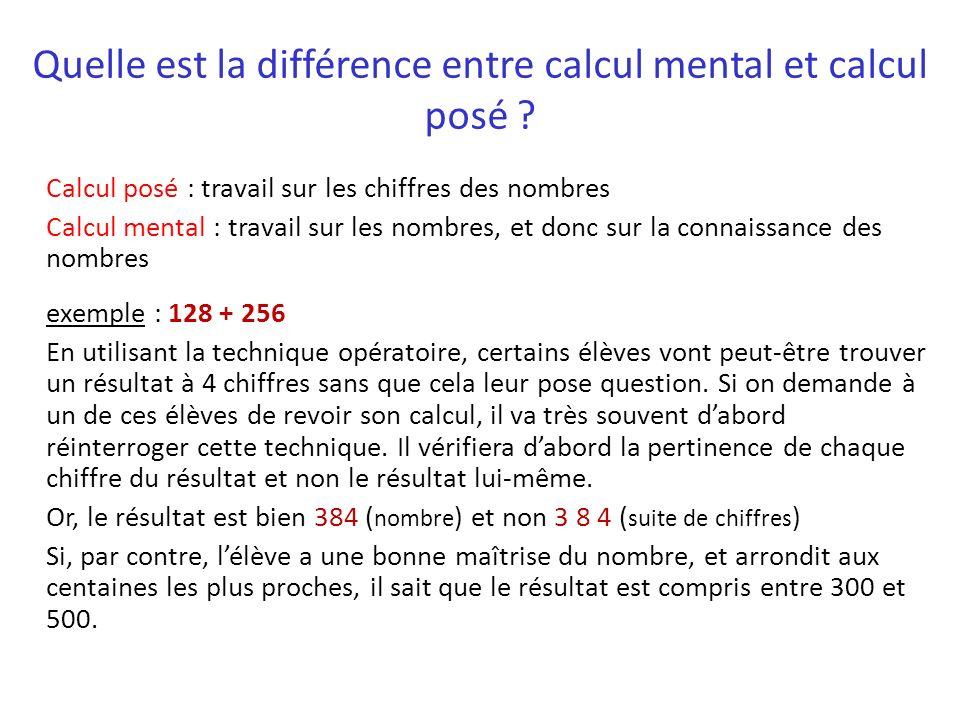 Quelle est la différence entre calcul mental et calcul posé ? Calcul posé : travail sur les chiffres des nombres Calcul mental : travail sur les nombr