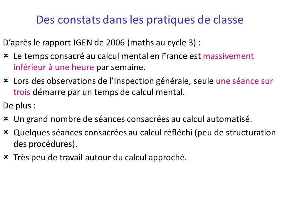 Des constats dans les pratiques de classe Daprès le rapport IGEN de 2006 (maths au cycle 3) : Le temps consacré au calcul mental en France est massive