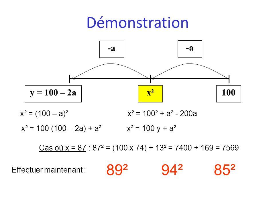 Démonstration 100x²y = 100 – 2a -a Cas où x = 87 : 87² = (100 x 74) + 13² = 7400 + 169 = 7569 Effectuer maintenant : 89²94²85² x² = (100 – a)²x² = 100
