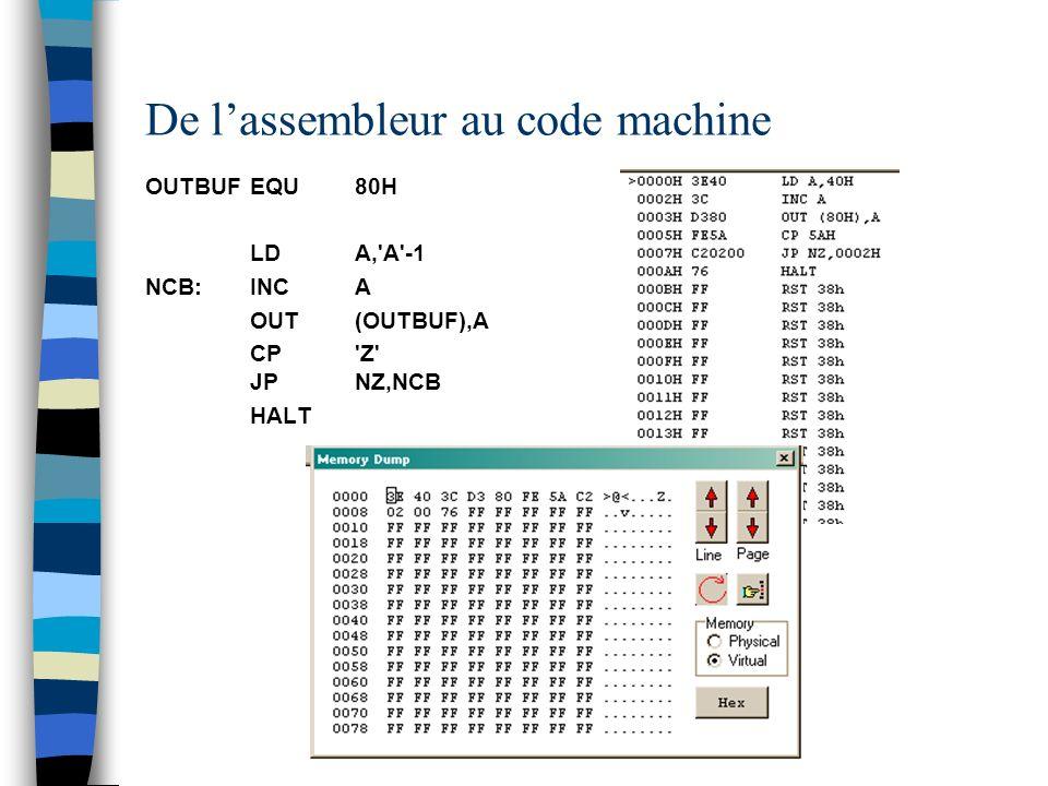 De lassembleur au code machine OUTBUFEQU80H LDA,'A'-1 NCB:INCA OUT(OUTBUF),A CP'Z' JPNZ,NCB HALT