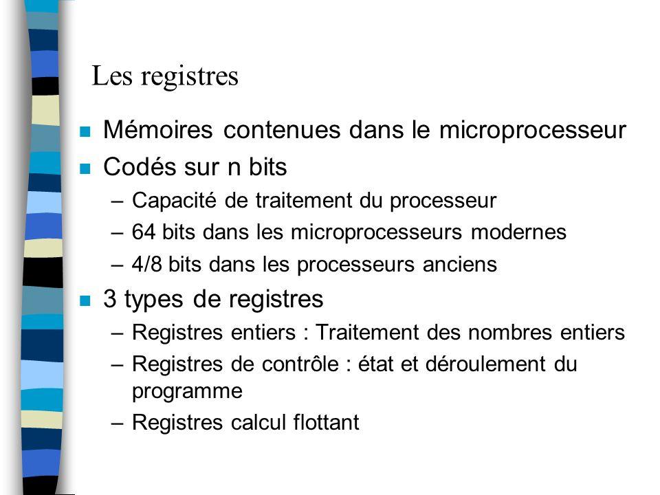 Les registres n Mémoires contenues dans le microprocesseur n Codés sur n bits –Capacité de traitement du processeur –64 bits dans les microprocesseurs