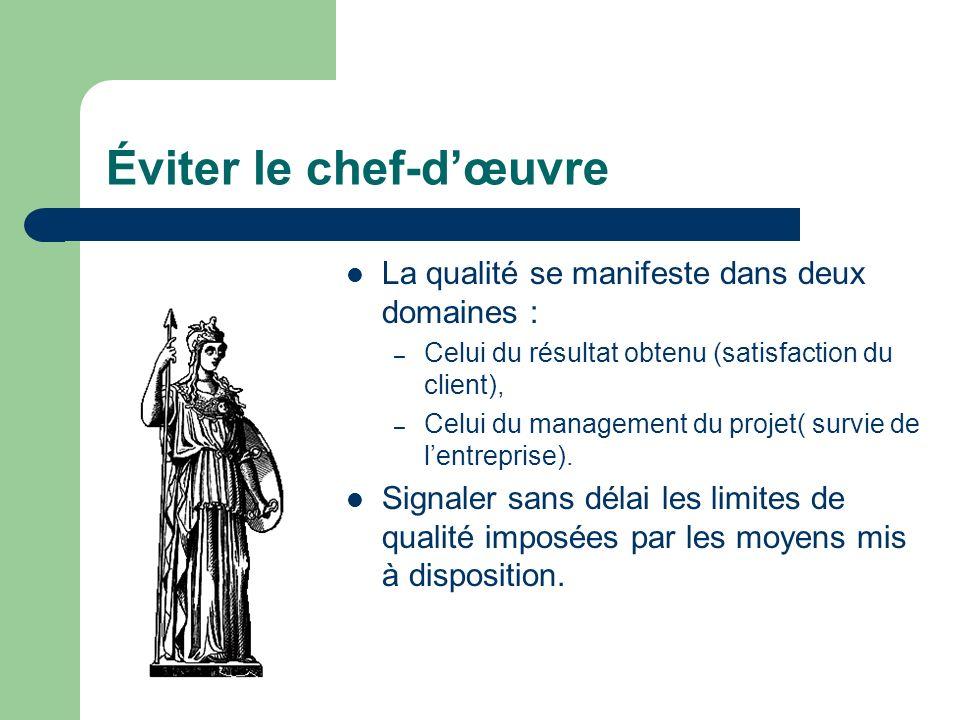 Éviter le chef-dœuvre La qualité se manifeste dans deux domaines : – Celui du résultat obtenu (satisfaction du client), – Celui du management du proje