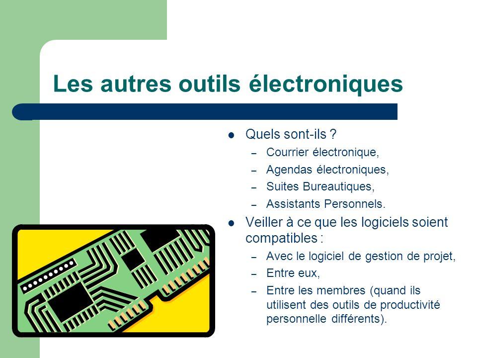 Les autres outils électroniques Quels sont-ils ? – Courrier électronique, – Agendas électroniques, – Suites Bureautiques, – Assistants Personnels. Vei