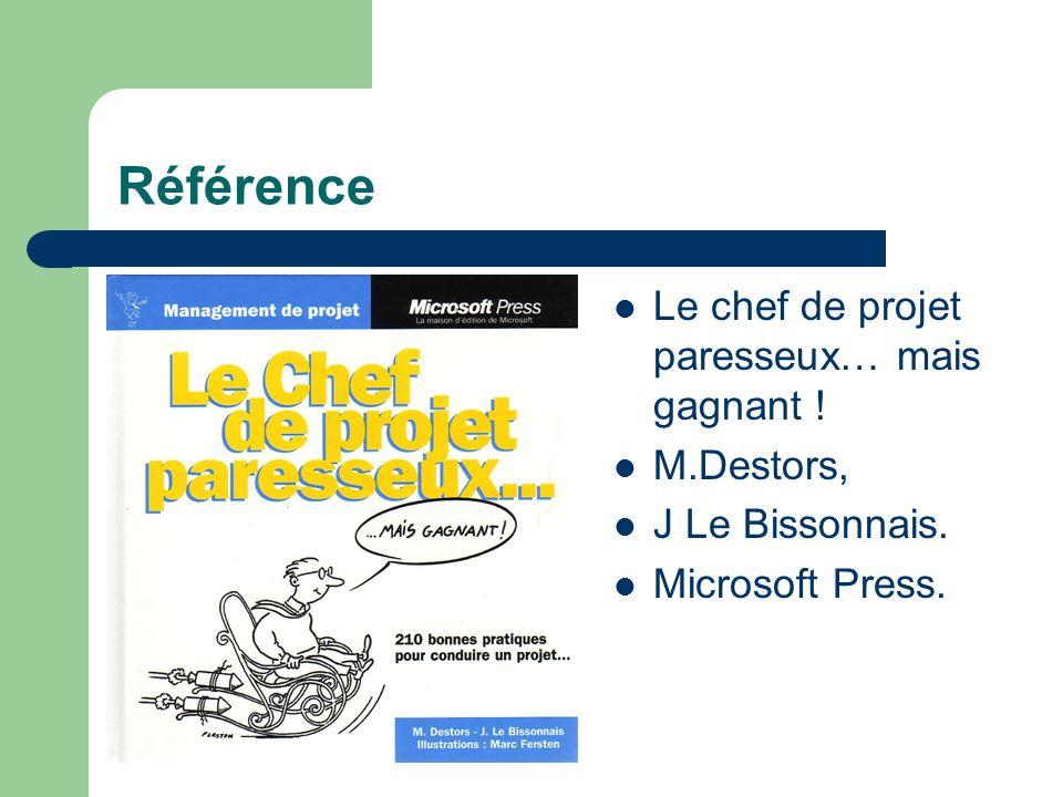 Référence Le chef de projet paresseux… mais gagnant ! M.Destors, J Le Bissonnais. Microsoft Press.