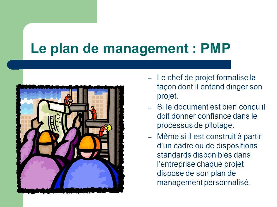 Le plan de management : PMP – Le chef de projet formalise la façon dont il entend diriger son projet. – Si le document est bien conçu il doit donner c