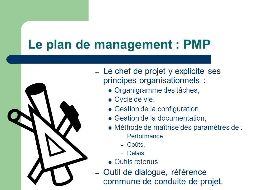 Le plan de management : PMP – Le chef de projet y explicite ses principes organisationnels : Organigramme des tâches, Cycle de vie, Gestion de la conf