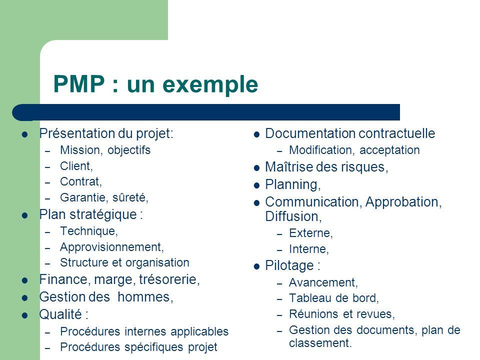 PMP : un exemple Présentation du projet: – Mission, objectifs – Client, – Contrat, – Garantie, sûreté, Plan stratégique : – Technique, – Approvisionne