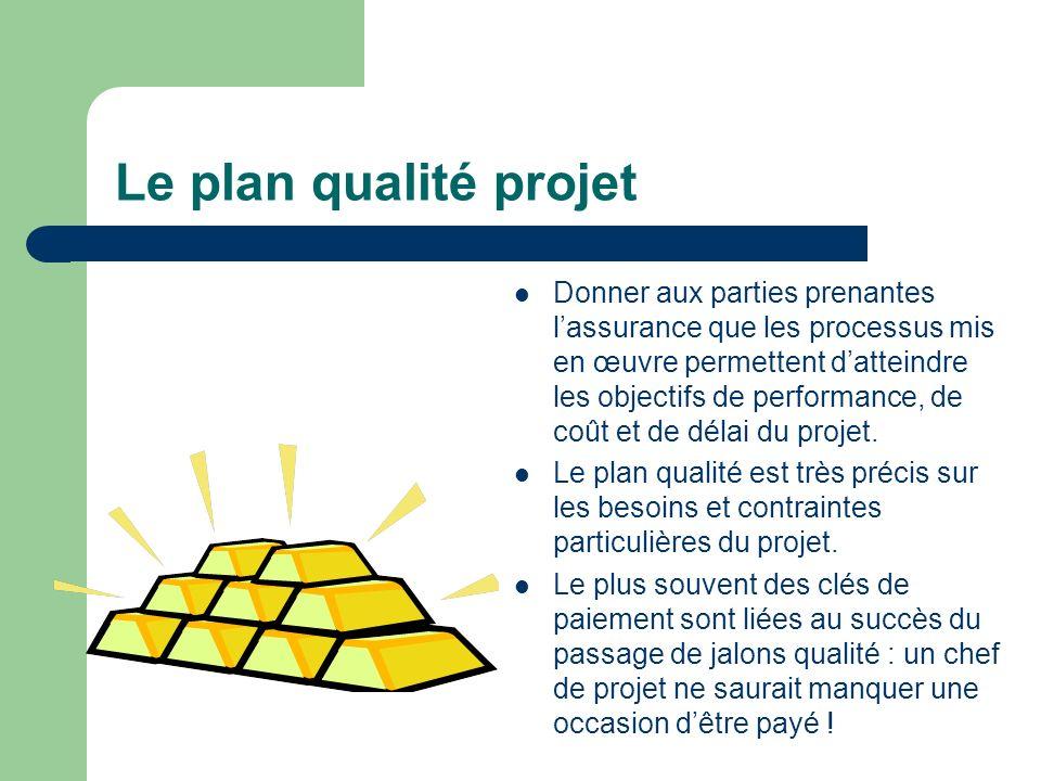 Le plan qualité projet Donner aux parties prenantes lassurance que les processus mis en œuvre permettent datteindre les objectifs de performance, de c