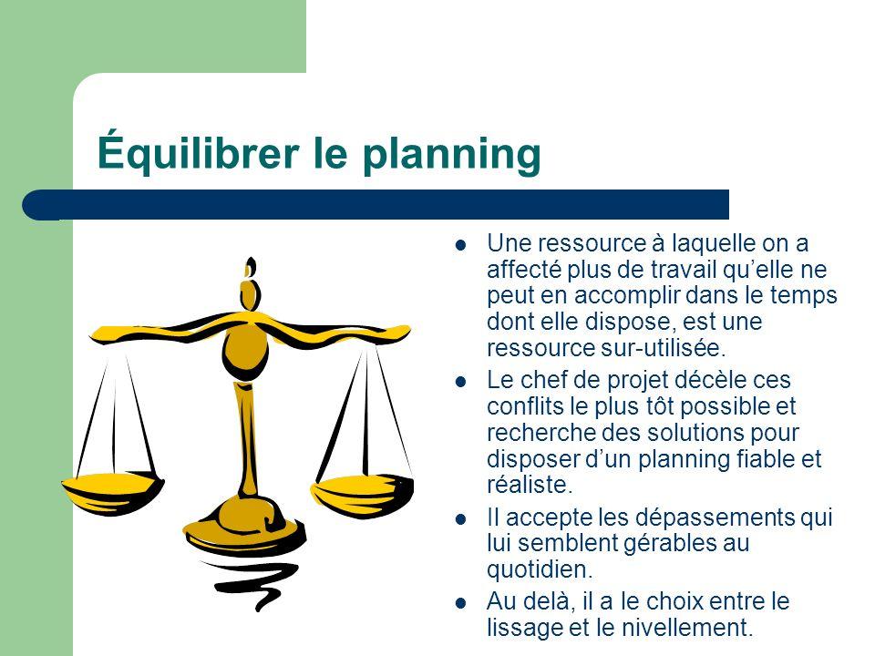 Équilibrer le planning Une ressource à laquelle on a affecté plus de travail quelle ne peut en accomplir dans le temps dont elle dispose, est une ress