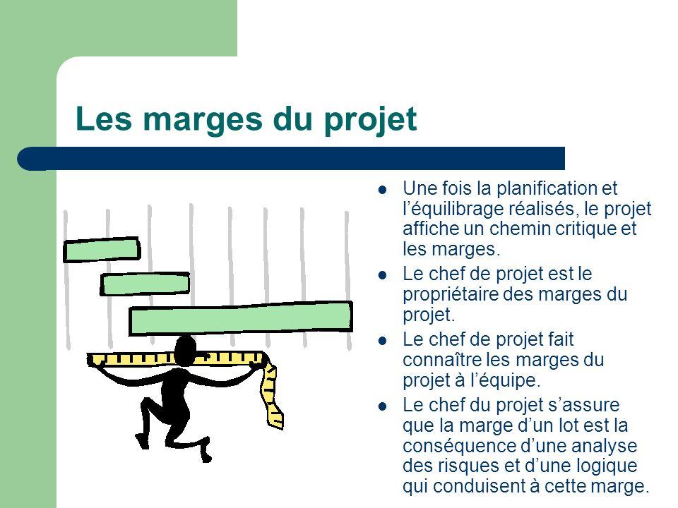Les marges du projet Une fois la planification et léquilibrage réalisés, le projet affiche un chemin critique et les marges. Le chef de projet est le