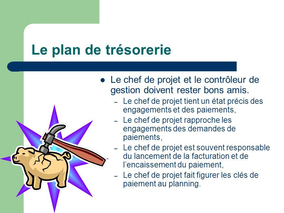 Le plan de trésorerie Le chef de projet et le contrôleur de gestion doivent rester bons amis. – Le chef de projet tient un état précis des engagements