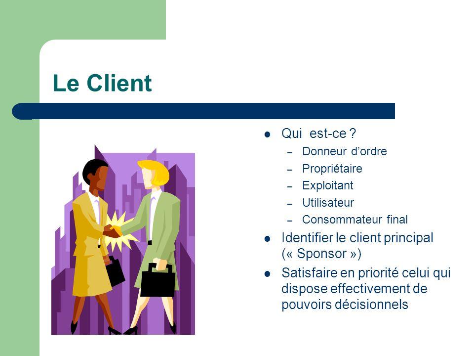 Le Client Qui est-ce ? – Donneur dordre – Propriétaire – Exploitant – Utilisateur – Consommateur final Identifier le client principal (« Sponsor ») Sa