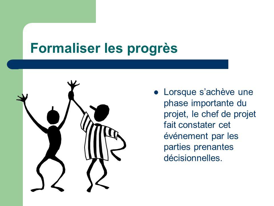 Formaliser les progrès Lorsque sachève une phase importante du projet, le chef de projet fait constater cet événement par les parties prenantes décisi