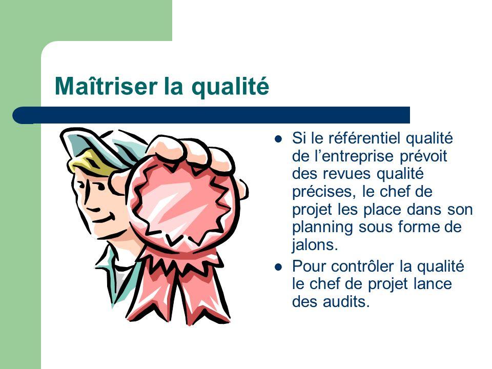 Maîtriser la qualité Si le référentiel qualité de lentreprise prévoit des revues qualité précises, le chef de projet les place dans son planning sous
