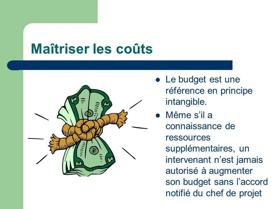 Maîtriser les coûts Le budget est une référence en principe intangible. Même sil a connaissance de ressources supplémentaires, un intervenant nest jam