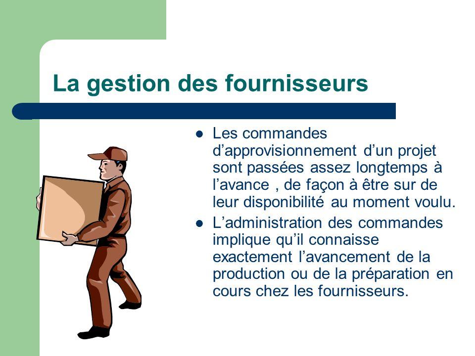 La gestion des fournisseurs Les commandes dapprovisionnement dun projet sont passées assez longtemps à lavance, de façon à être sur de leur disponibil