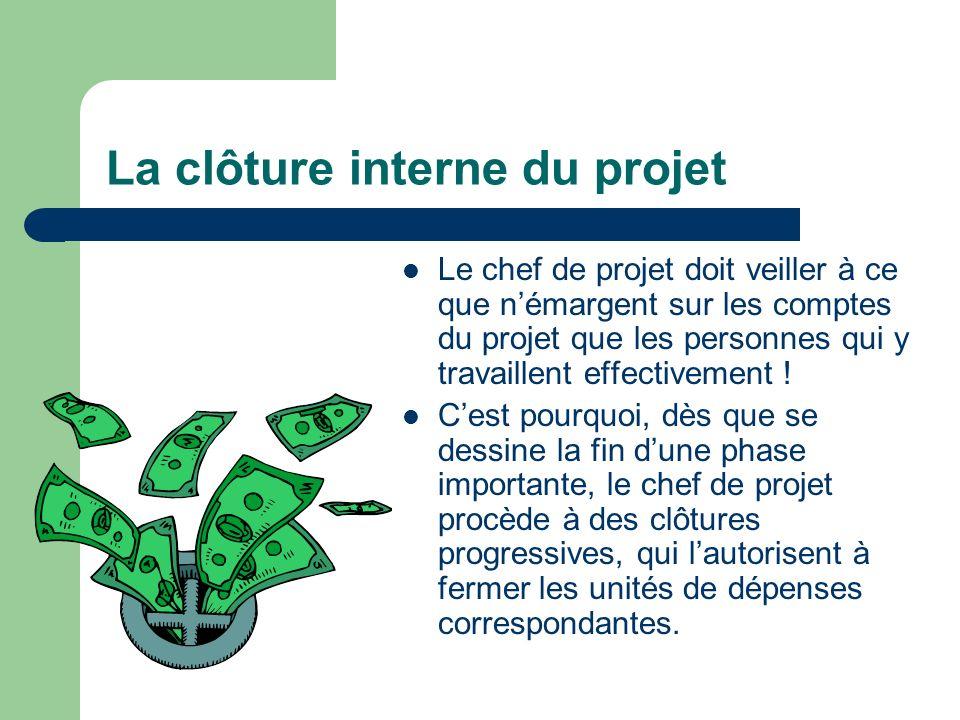 La clôture interne du projet Le chef de projet doit veiller à ce que némargent sur les comptes du projet que les personnes qui y travaillent effective