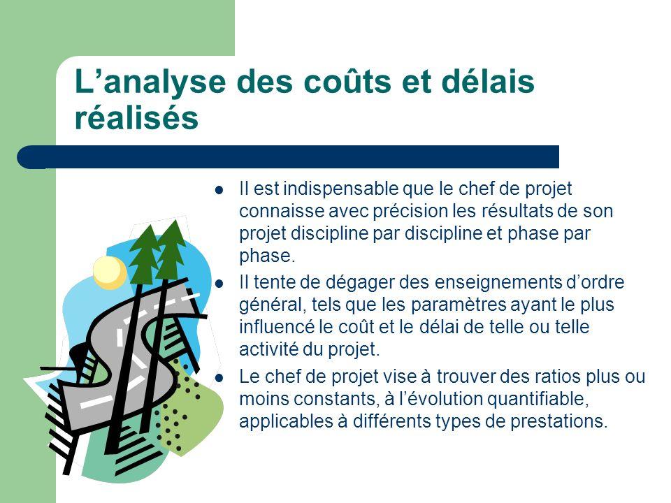 Lanalyse des coûts et délais réalisés Il est indispensable que le chef de projet connaisse avec précision les résultats de son projet discipline par d