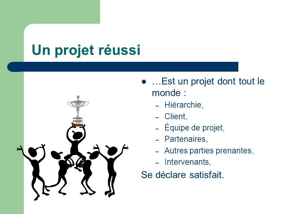 Un projet réussi …Est un projet dont tout le monde : – Hiérarchie, – Client, – Équipe de projet, – Partenaires, – Autres parties prenantes, – Interven