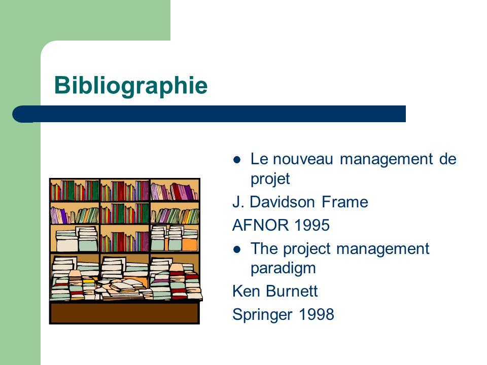 Bibliographie Le nouveau management de projet J. Davidson Frame AFNOR 1995 The project management paradigm Ken Burnett Springer 1998